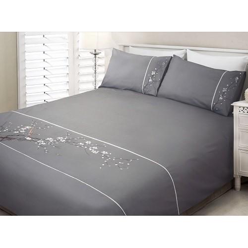 housse de couette d corative brod e en coton et polyester. Black Bedroom Furniture Sets. Home Design Ideas