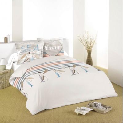 Housse de couette d corative la mer imprim e moderne en coton decorsfabrics quebec canada - Housse de couette motif zen ...