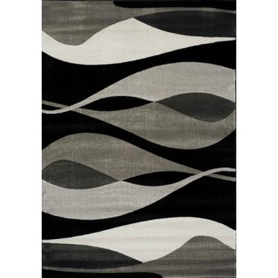 PLATINUM 3597 58-  TAPIS  noir  gris  80 x 150 cm et 1 autre dimension -  heatset polypropylène