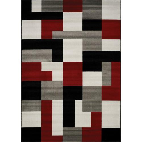 PLATINUM 3650 64 -  TAPIS noir  gris rouge 80 x 150 cm -  heatset polypropylène