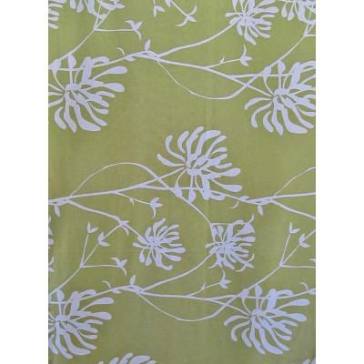GALA vert -  tissu imprimé 280 cm - 90% coton 10% lin - vendu au mètre