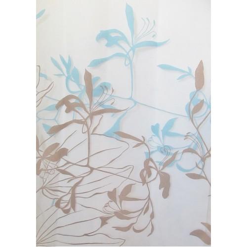 LYS voilage imprimé bleu - 280 cm - 55% polyester 45% vscose - vendu au mètre