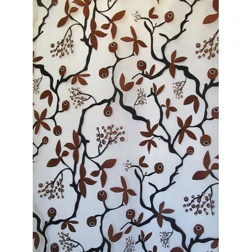 EVE  brun - voilage imprimé - 280 cm - 55% polyester 45% viscose - vendu au mètre